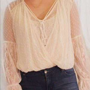 Free People Lace tie front top